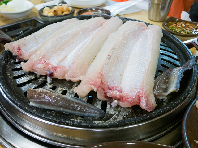 fresh eel on the grill