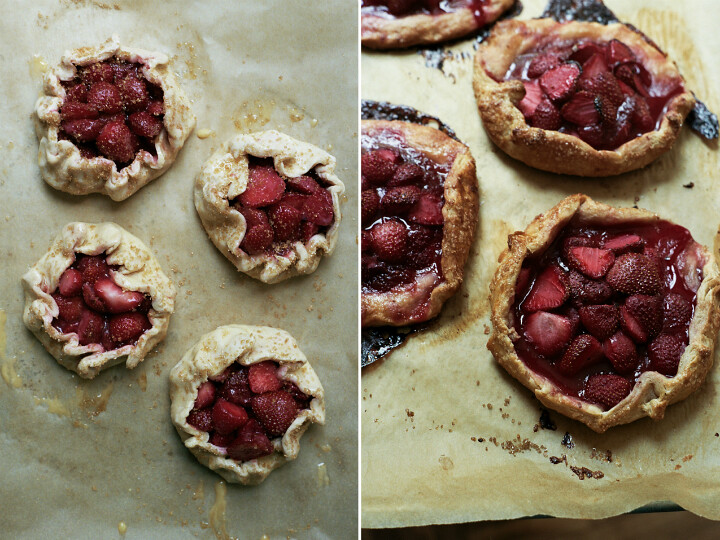strawberry galettes with rye pastry