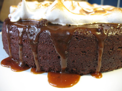 Chocolate cake with caramel sauce and Vanilla bean meringue