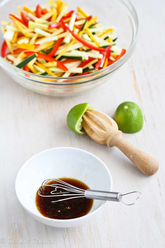 Tricolor Thai Salad Recipe with Zucchini & Yellow Squash | cookincanuck.com #recipe #salad #Thai