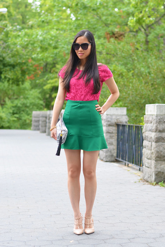 pink & green: lace top & flouncing skirt
