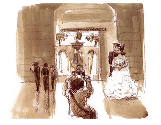 City Hall Wedding Photographer (super-quick sketch)