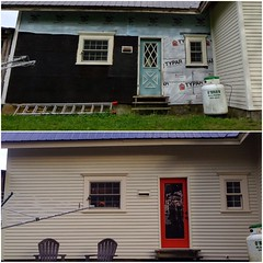 west side of farmhouse: before & after #diy #homestead #housepainting #renovations