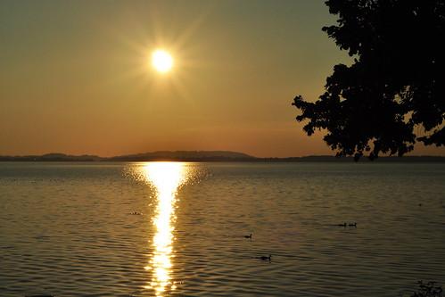 Sonnenuntergang Abendstimmung romantisch Romantik See Chiemsee