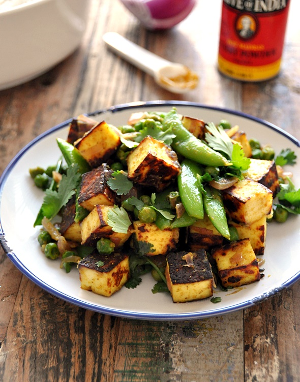 Sautéed Curry Paneer with Sugar Snap & Peas
