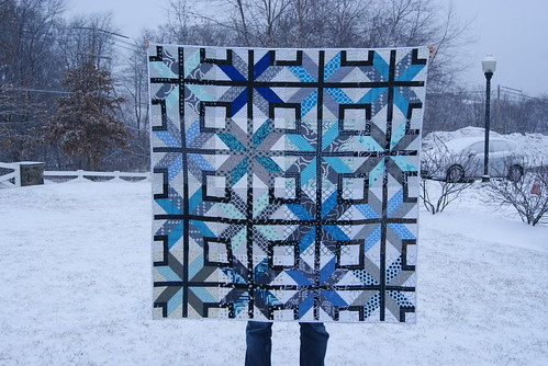 finished snowy stars align quilt
