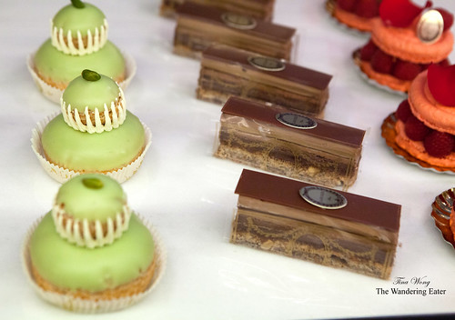 Pistachio Religieuse and Gianduja pastry