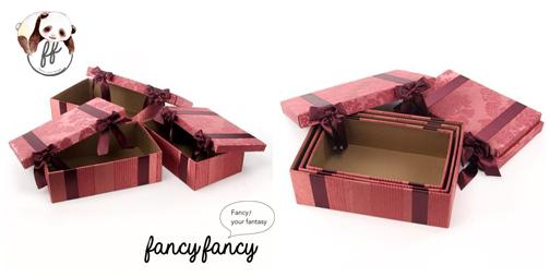 85.優雅宮廷風緞帶蝴蝶結收納盒(美國設計 大中小三個一組)-紫紅色細節