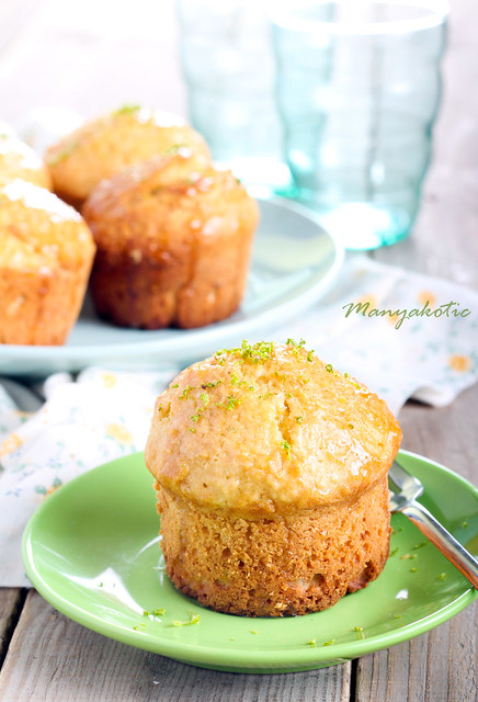 Lime syrup coconut muffins