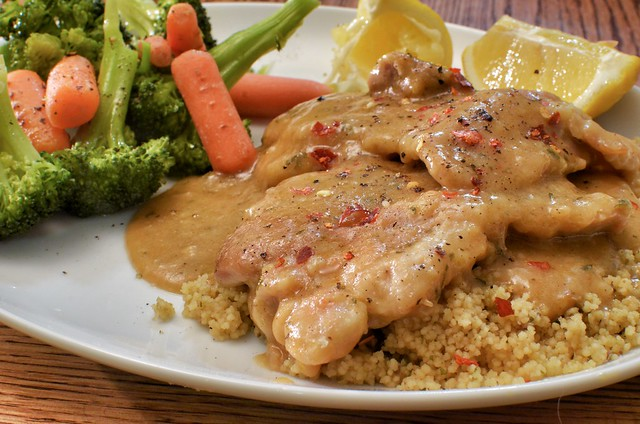 Mmm... chicken in wine sauce over couscous
