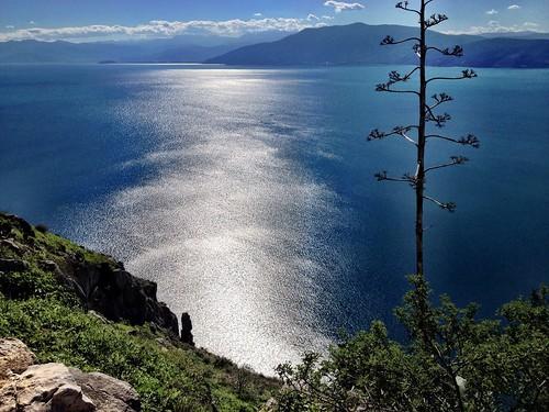 sea reflection silver view greece nafplio palamidi