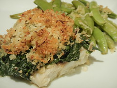 Fish Florentine with Parmesan Crumbs and Sugar Snap Peas