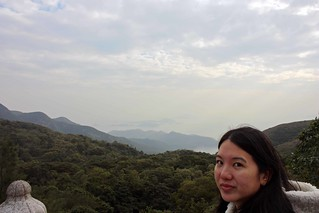 Mei and the view from the Big Buddha of mountains and ocean.