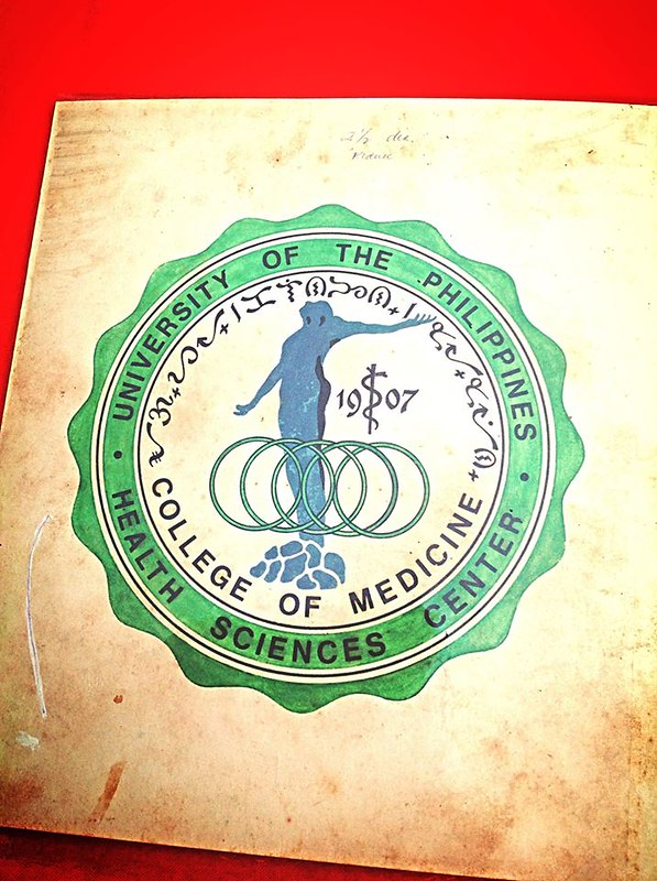 The original copy of the logo of the UP College of Medicine created by Brod Nestor Silayan Bautista ϕ1950