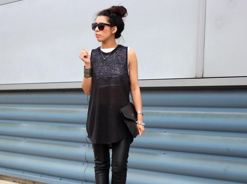 Article 21 Uk Fashion & Style Blog, Primark Sheer Black Vest, Sheer Vests, Black Leather Pants, Cat Eyed Sunglasses, All Black Outfit, Envelope Clutch, uk fashion blogger, top uk blogs, best uk fashion blogs, british fashion blogs, uk chinese blogger, manchester fashion blogger