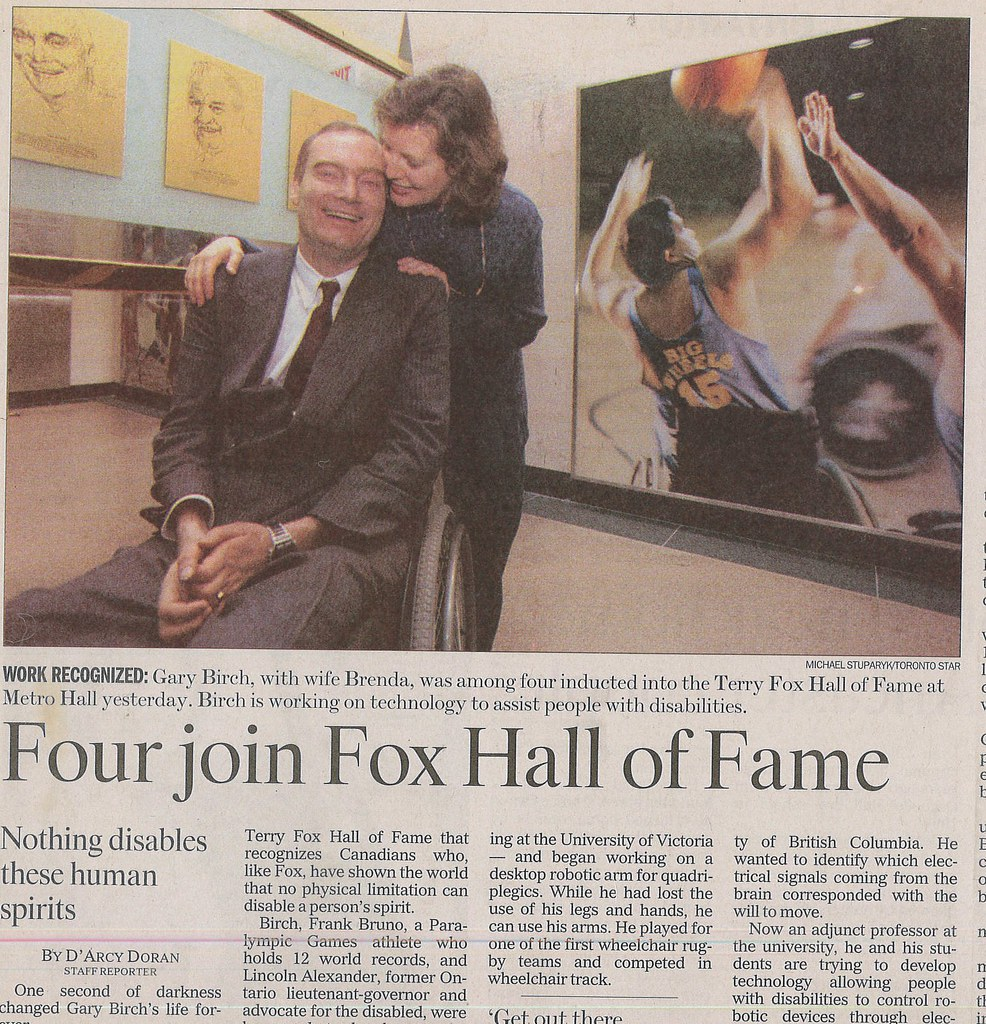 newspaper clipping showing Gary Birch induction into Terry Fox Hall of Fame