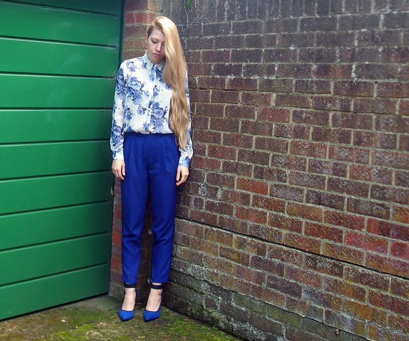 Sam Muses, UK Fashion Blog, London Style Blogger, George, ASDA, Cobalt Blue, Floral Print Shirt, Primark, Cropped Trousers, Tailored, Ankle Cuff Court Shoes, SS14, How to Wear, Androgynous, Style Inspiration, Outfit Ideas