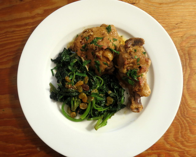 "Poulet à la moutarde (""chicken with mustard sauce""), spinach alla Genovese"