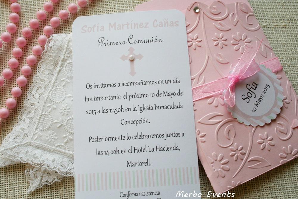 Conjunto Gala Invitaciones y punto de libro Colección Comuniones Niñas Merbo Events