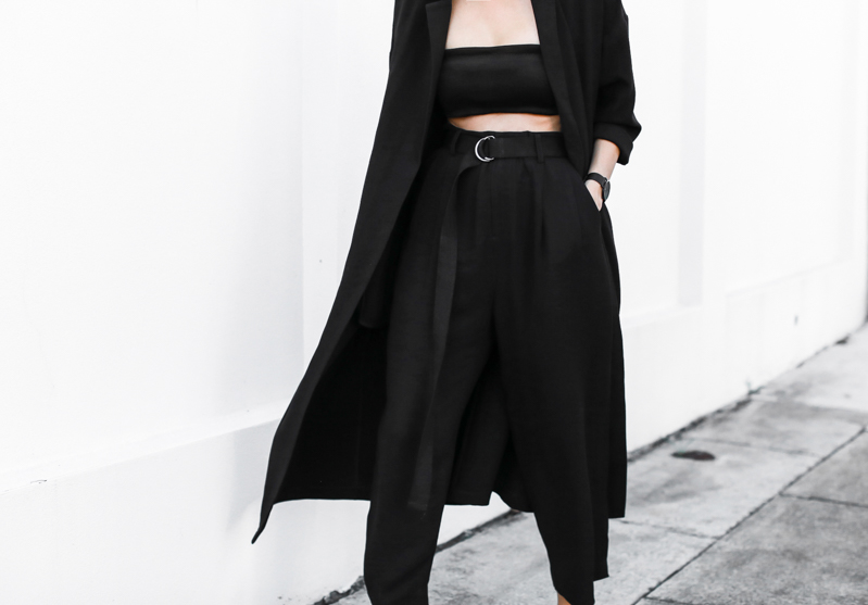 MODERN LEGACY fashion blog Birkenstock street style all black Arizona duster coat Bassike D ring belt Josh Goot bandeau top summer (1 of 1)