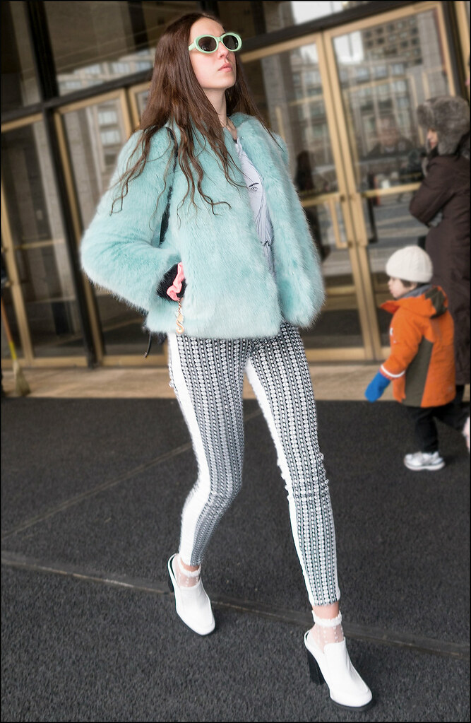 FW2-15  9w light blue fur jacket black and white pattern leggings white shoes retro aqua shades
