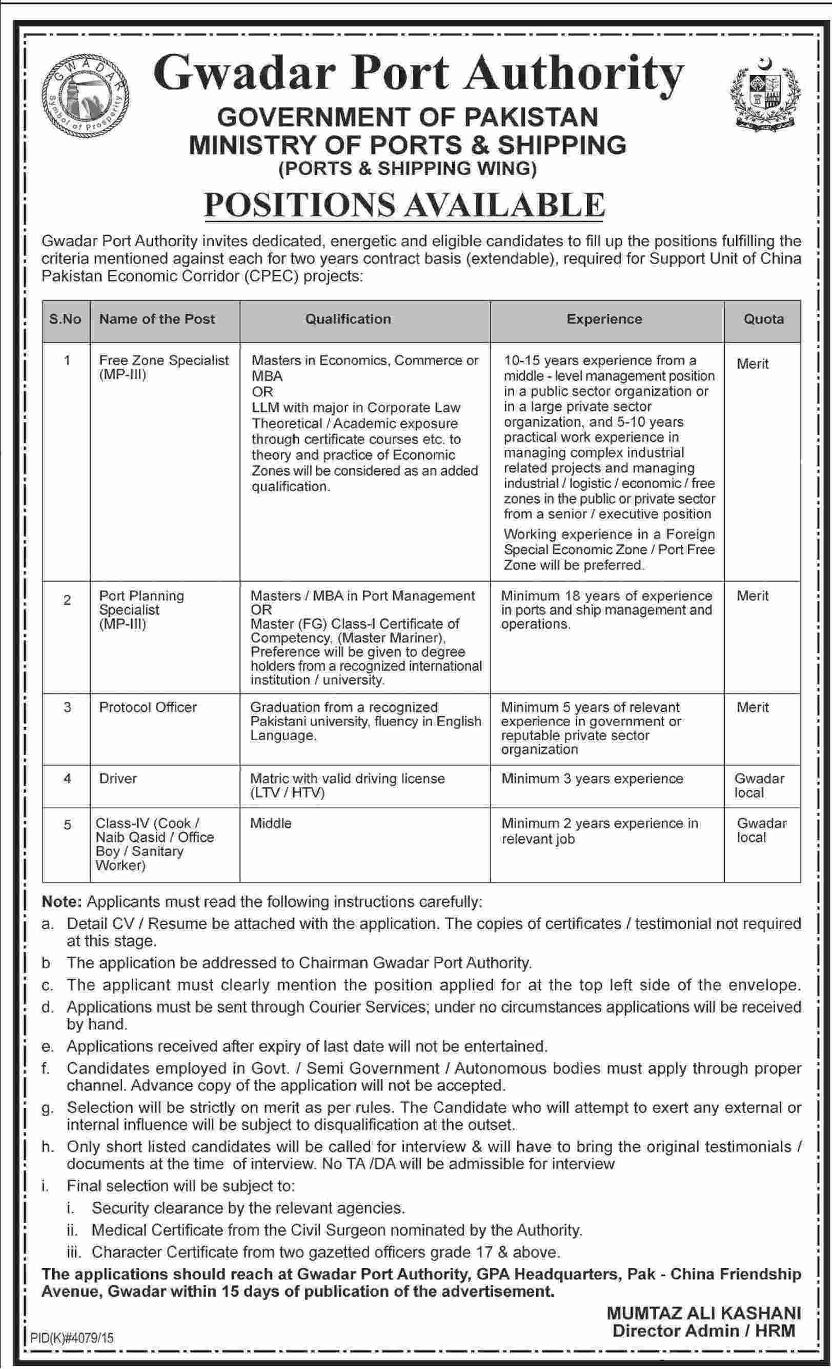 Gawadar Port Authority Ministry of Shipping and Ports Jobs 2016