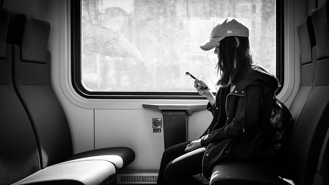 On the train - Helsinki, Finland - Black and white street photography