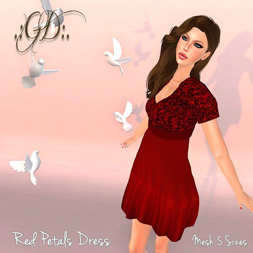 ._GD_. Red Petals Dress ._Glow Designs_.
