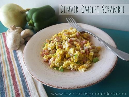 Denver Omelet Scramble in bowl with fork and fresh vegetables.