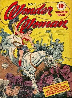 An old issue of wonder woman with the titular lady riding a horse