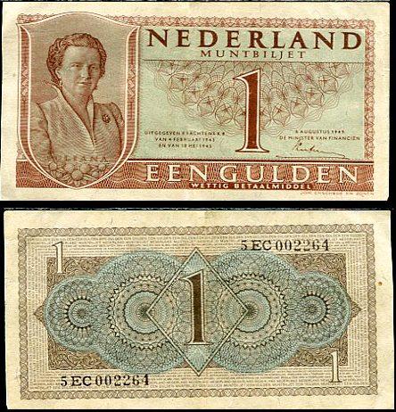 1 Gulden Holandsko 1945, Pick 70