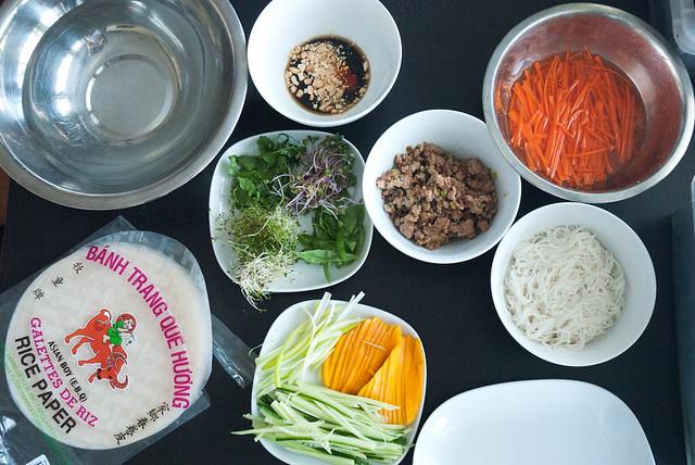 Salad Roll Mise en Place