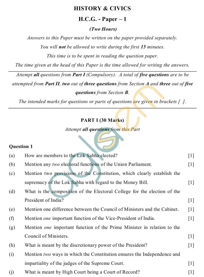 icse class sample paper history civics icse class 10 history civics sample paper h c g paper