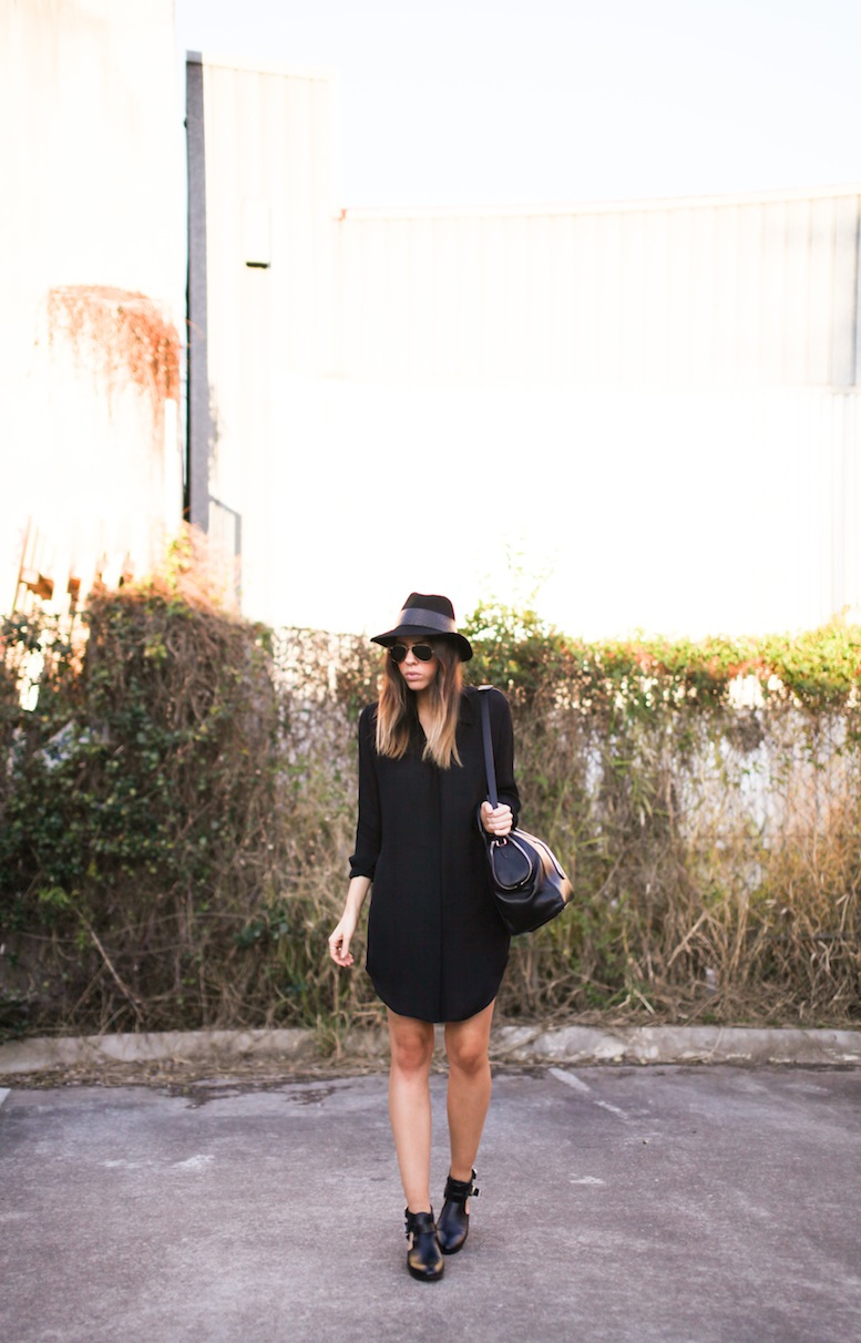 Modern Legacy fashion style blog Australia Saba shirt dress Janessa Leone fedora cut out boots outfit 1 (2 of 2)
