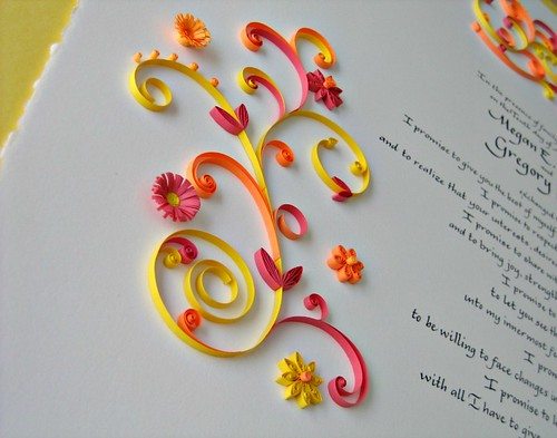 Marriage Certificate with Quilled Summer Flowers