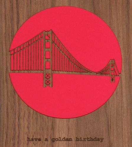 laser cut card - golden gate bridge