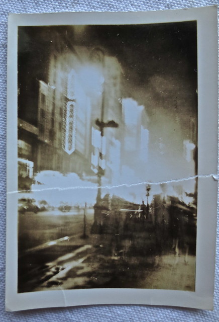 1940s NYC Vintage New York City Photo TIMES SQUARE AT NIGHT (Torn Photo)
