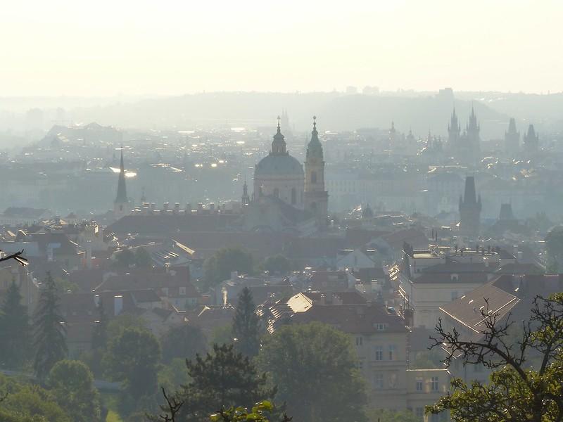 Morning mist over Prague