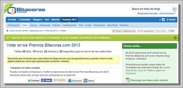 Voto realizado Bitacoras13