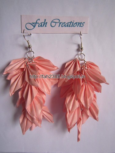 Handmade Jewelry - Origami Paper Leaves Earrings (1) by fah2305