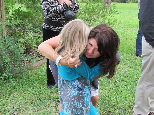 Catie got upset & pouty during the rehearsal & needed a hug from aunt Tracy