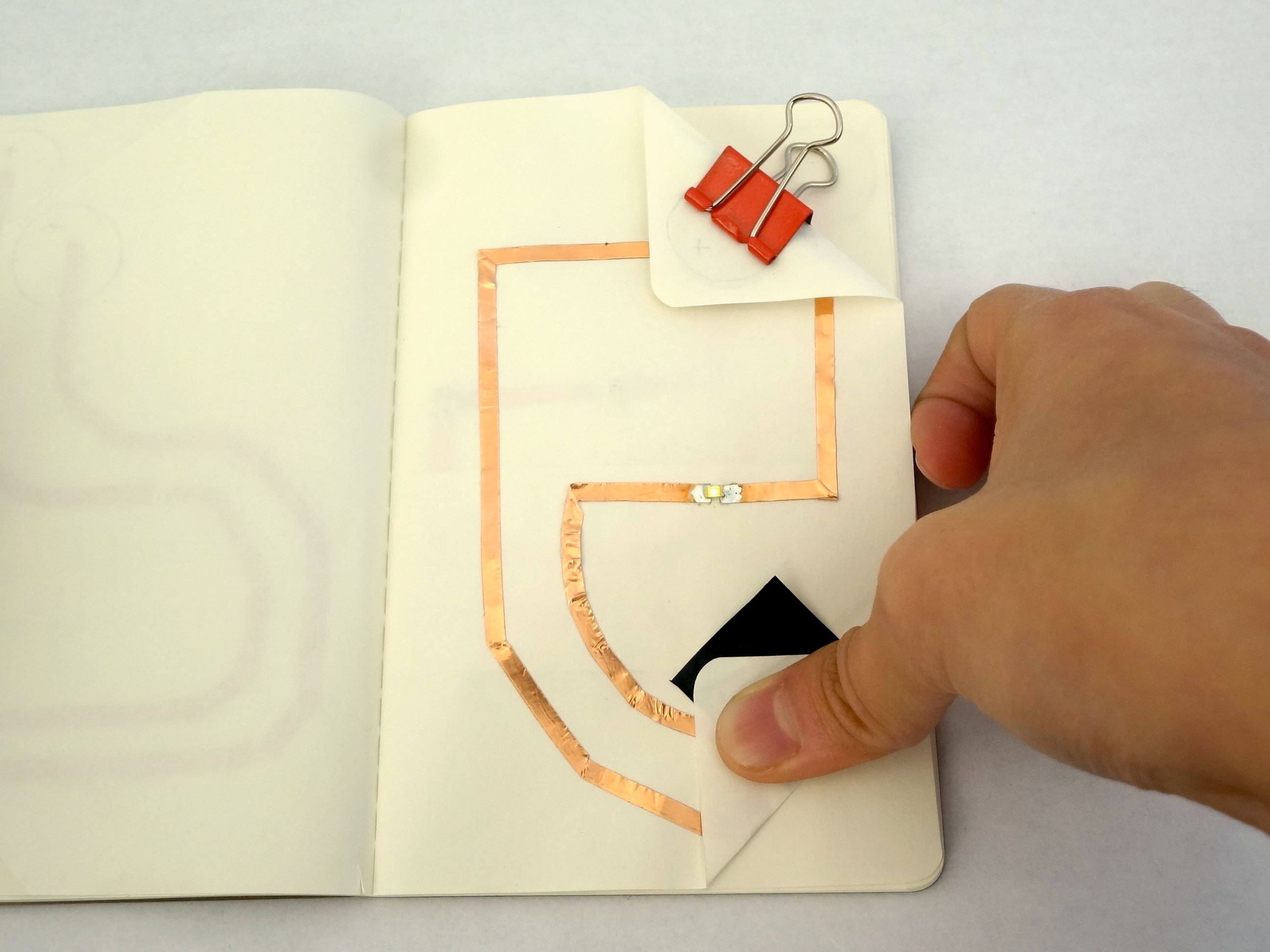 turning on LED with pressure sensor paper