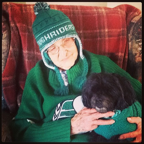 Grandma and Vicki ready for Grey Cup!