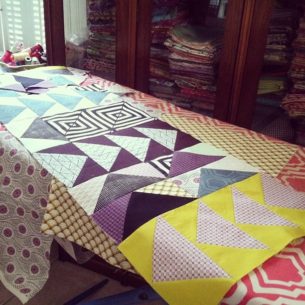 Work in progress! #scrappy #flyinggeese #followthearrow #quilt