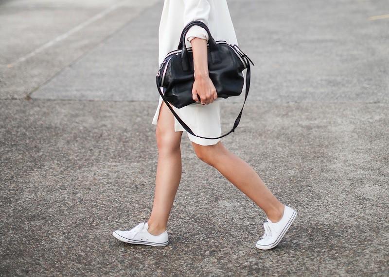 aa2fbd4e2453 modern legacy fashion blog australia LIUK ivory split midi dress street  style Zara blazer Alexander Wang