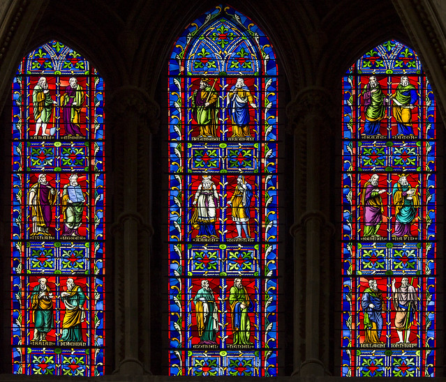 Vidriera de la catedral de Lincoln, Lincolnshire, Inglaterra.