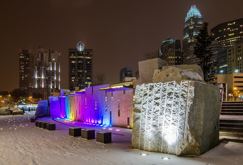 snowy evening at romare bearden park charlotte, nc by DigiDreamGrafix.com
