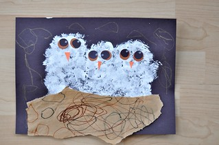 Pompom Dabbed White Owls Painting