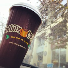 2 things that I love getting in the #City: #Rain and @PhilzCoffee <3