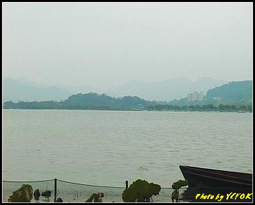 杭州 西湖 (其他景點) - 053 (湖濱路的湖畔看西湖白堤上的錦帶橋及背景 孤山)